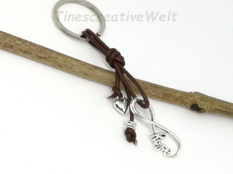 Kleinesbild - Infinity, Schlüsselanhänger, Leder, Unendlichkeit, Hope, Taschenanhänger, Geschenk