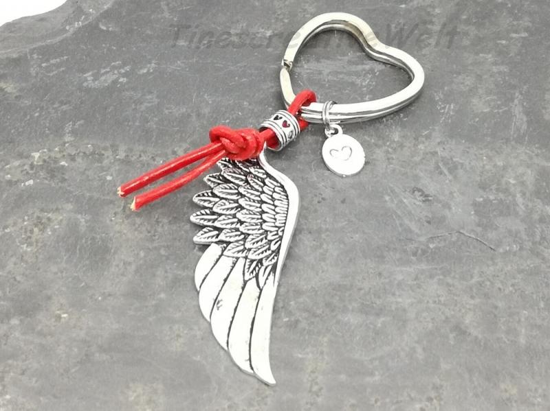 Kleinesbild - Schlüsselanhänger, Engelsflügel, Leder, Lederband, Flügel, Feder, Herz, Taschenanhänger, Wechelanhänger, Glücksbringer