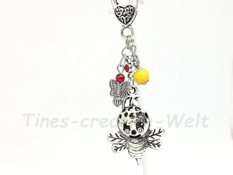 Kleinesbild - Schlüsselanhänger, Biene, Fliege, Anhänger, Taschenanhänger, Imker, Insekt, Perlen