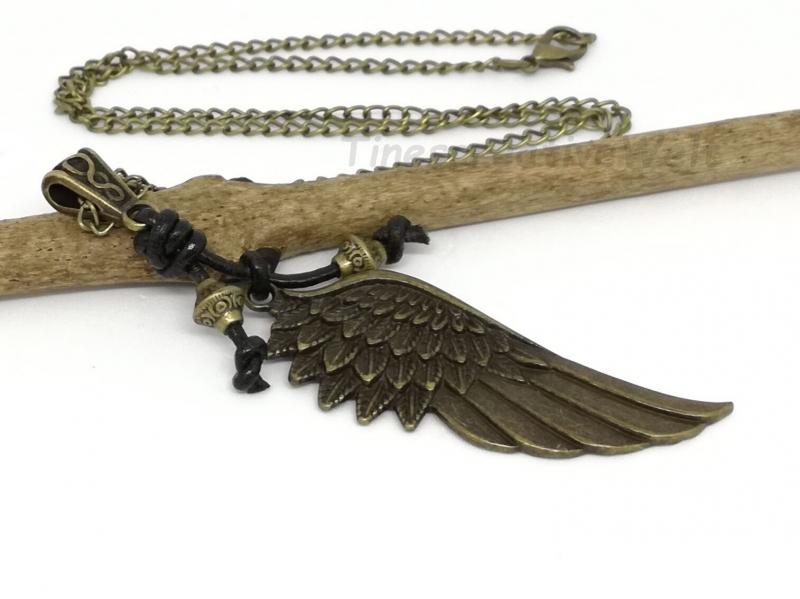 Kleinesbild - Kette, Engelsflügel, Lederband, Flügel, Feder, Glücksbringer, Geschenk