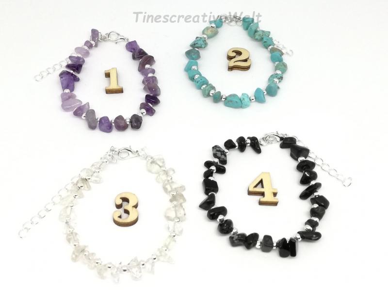 Kleinesbild - Edelstein - Armband, Splitter, verstellbar, Geschenk für Frauen, Geschenk für Männer