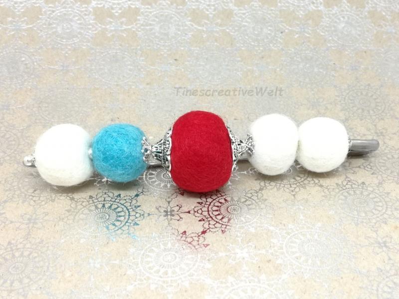 Kleinesbild - Anstecknadel aus Schurwolle mit Filzkugeln gefilzt, Geschenk für Frauen