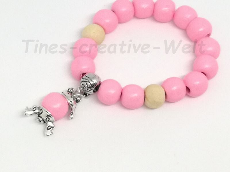 Kleinesbild - Armband, Mädchen, Holzperlen, Frosch,Tier, Geburtstag, Geburtstagsgeschenk, rosa, beige