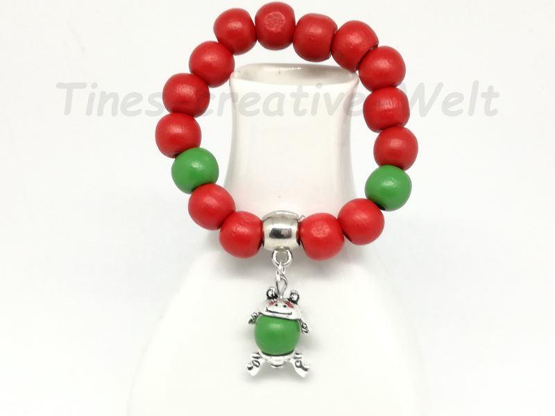 Kleinesbild - Armband, Kinder, Holzperlen, Frosch,Tier, Geburtstag, Geburtstagsgeschenk, rot, grün
