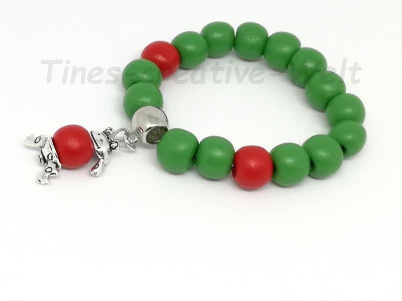 Kleinesbild - Armband, Kinder, Holzperlen, Frosch,Tier, Geburtstag, Geburtstagsgeschenk, grün, rot