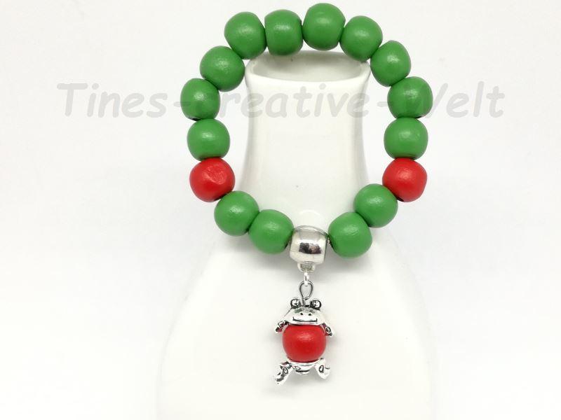 - Armband, Kinder, Holzperlen, Frosch,Tier, Geburtstag, Geburtstagsgeschenk, grün, rot - Armband, Kinder, Holzperlen, Frosch,Tier, Geburtstag, Geburtstagsgeschenk, grün, rot