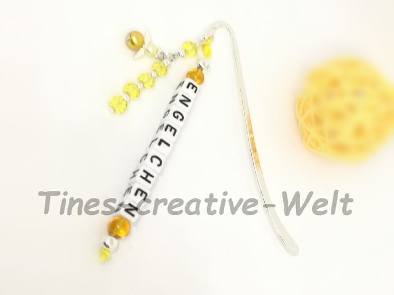 Kleinesbild - Lesezeichen, bömische Perlen, Schutzengel, Geschenk, Glücksbringer, Geburtstag, gelb