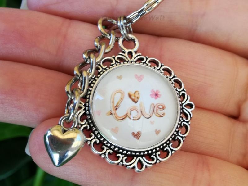 - Schlüsselanhänger, Taschenanhänger, Glascabochon, Love, Herz, Geschenk für Frauen - Schlüsselanhänger, Taschenanhänger, Glascabochon, Love, Herz, Geschenk für Frauen
