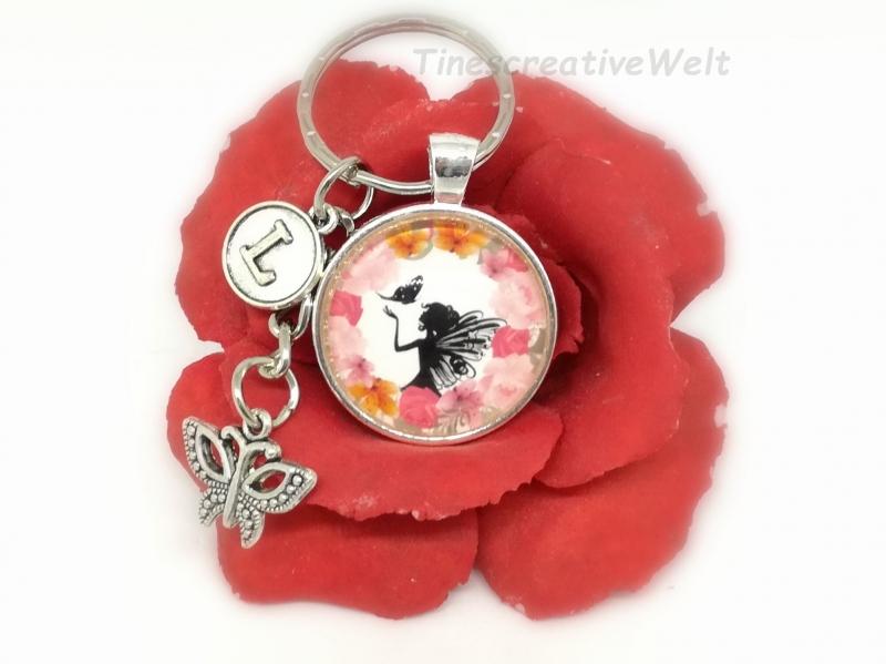 Kleinesbild - Personalisierter Schlüsselanhänger, Glascabochon, Elfe, Fee, Geschenk für Frauen