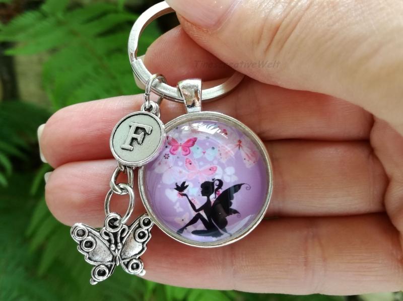 Kleinesbild - Personalisierbarer Schlüsselanhänger, Glascabochon, Elfe, Fee, Geschenk für Frauen