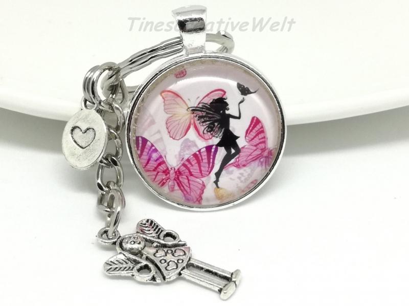 Kleinesbild - Schlüsselanhänger, Taschenanhänger, Glascabochon, Elfe, Fee, Geschenk für Frauen, Geschenk für Mädchen