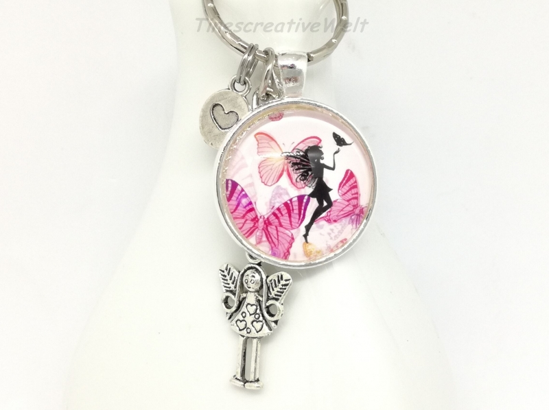 - Schlüsselanhänger, Taschenanhänger, Glascabochon, Elfe, Fee, Geschenk für Frauen, Geschenk für Mädchen    - Schlüsselanhänger, Taschenanhänger, Glascabochon, Elfe, Fee, Geschenk für Frauen, Geschenk für Mädchen