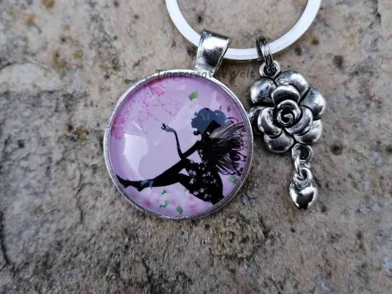 - Schlüsselanhänger, Glascabochon, Elfe, Fee, Geschenk für Frauen - Schlüsselanhänger, Glascabochon, Elfe, Fee, Geschenk für Frauen