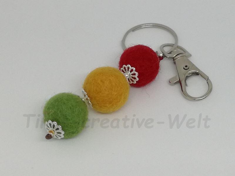 Kleinesbild - Schlüsselanhänger, Taschenanhänger, Filzkugeln, Filz, Taschenanhänger, Wechselanhänger, Anhänger, Handschmeichler