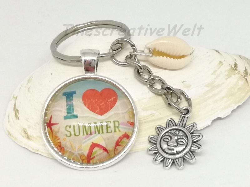 Kleinesbild - Schlüsselanhänger, Taschenanhänger, Glascabochon, Muschel, Sommer, Sonne, Strand
