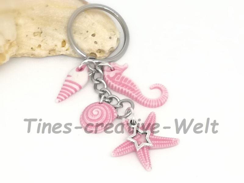 Kleinesbild - Schlüsselanhänger, Seestern, Schnecke, Seepferdchen, Stern, Urlaub, Meer, Strand