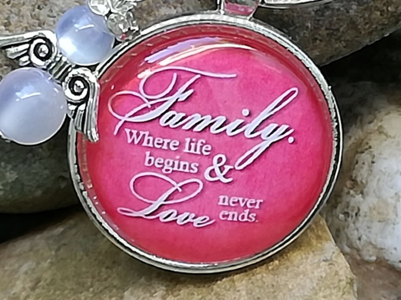 Kleinesbild - Familie, Schlüsselanhänger, Glascabochon, Schutzengel, Glücksbringer, Taschenanhänger, Geschenk