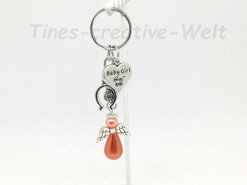 Kleinesbild - Schlüsselanhänger, Baby, Geburt, Mädchen, Schutzengel, Taschenanhänger, Glücksbringer, Geschenk Taufe