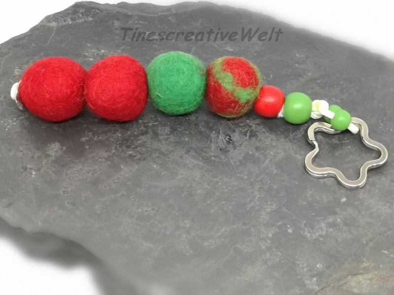 Kleinesbild - Schlüsselanhänger, Filz, Filzkugeln, Holzperlen, Taschenanhänger,  Handschmeichler, XL Schlüsselanhänger, Geschenk für Frauen und Männer