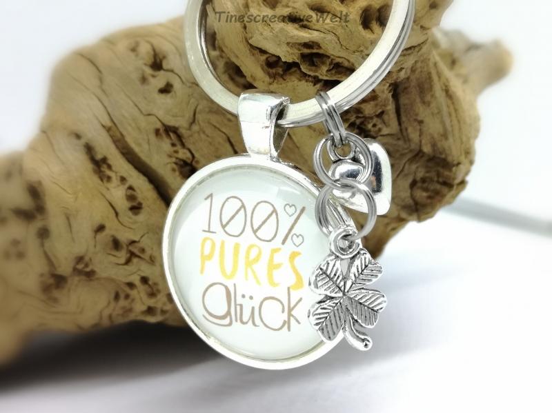 Kleinesbild - Glück, Schlüsselanhänger, Glascabochon, Schutzengel, Glücksbringer, Taschenanhänger, Geschenk