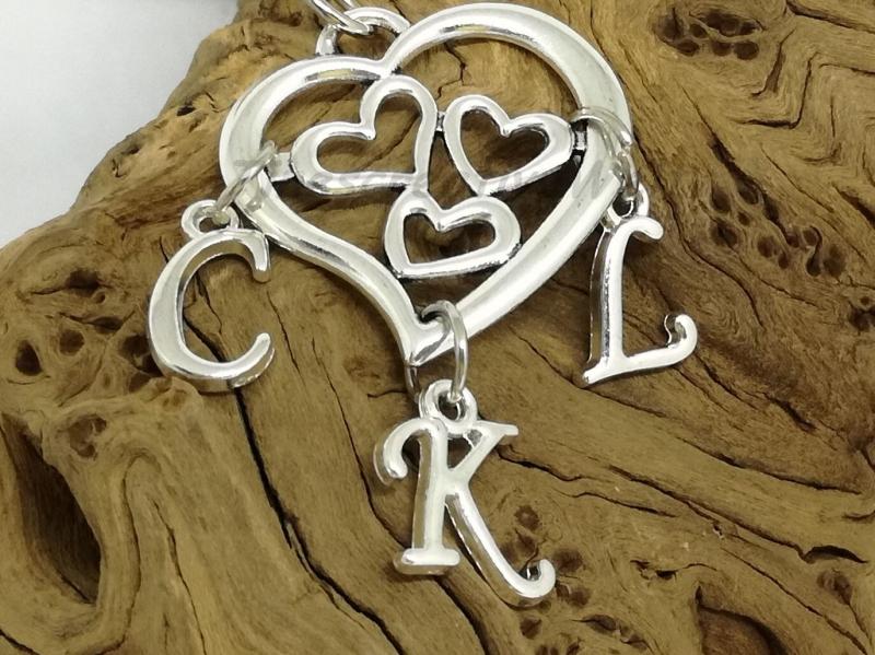 Kleinesbild - Personalisierbarer Schlüsselanhänger, Herz, Familienanhänger, Mutter - Kinder Anhänger, Geschenk
