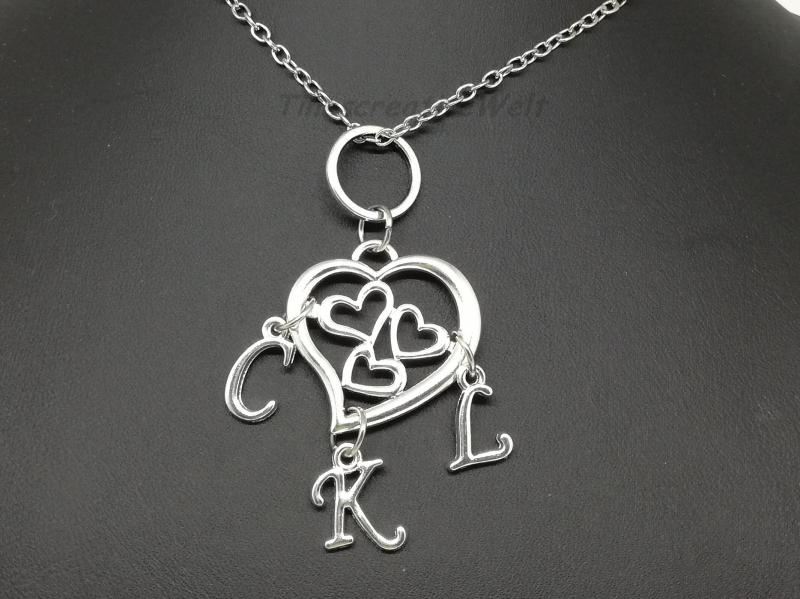 Kleinesbild - Familienkette, personalisierte Kette, Namenskette, Herz, Mutter - Kinder, Geschenk