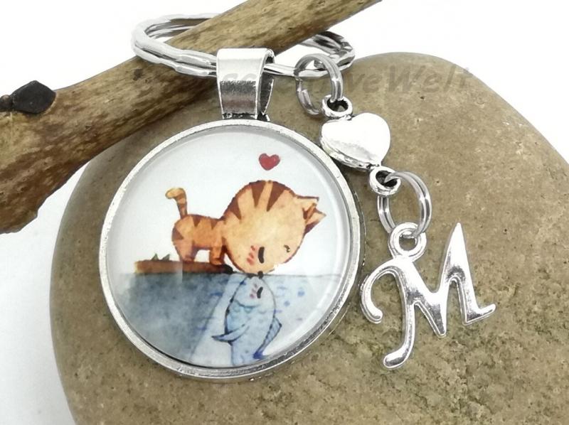 Kleinesbild - Personalisierbarer Schlüsselanhänger, Katze, Fisch, Geschenk