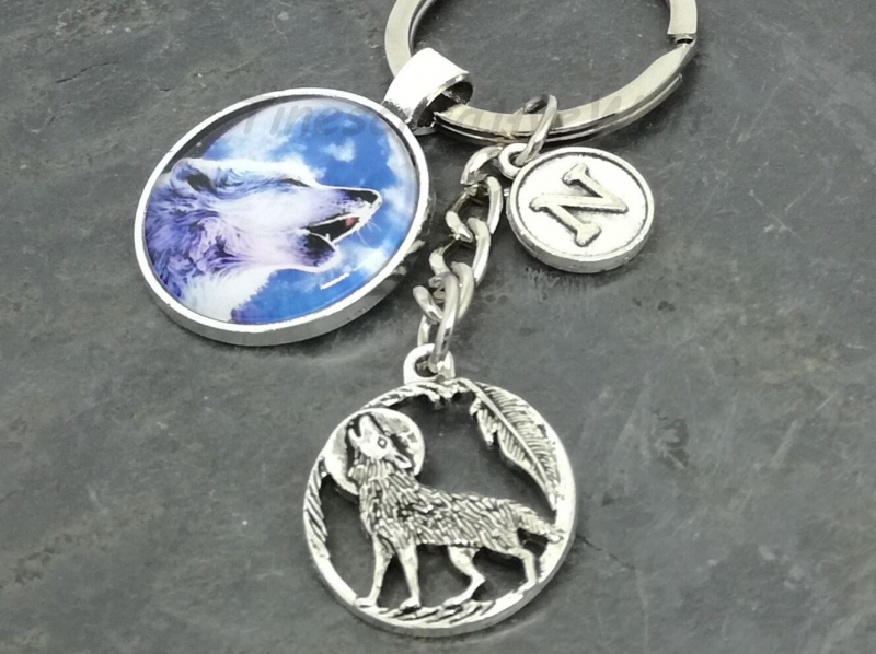 - Personalisierbarer Schlüsselanhänger, Glascabochon, Wolf, Geschenk für Männer - Personalisierbarer Schlüsselanhänger, Glascabochon, Wolf, Geschenk für Männer