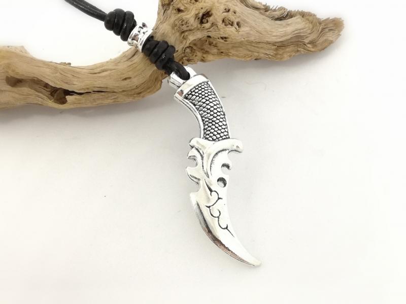 Kleinesbild - Lederkette, Dolch, Messer, Echtleder, Geschenk für Männer, verstellbar, schwarz