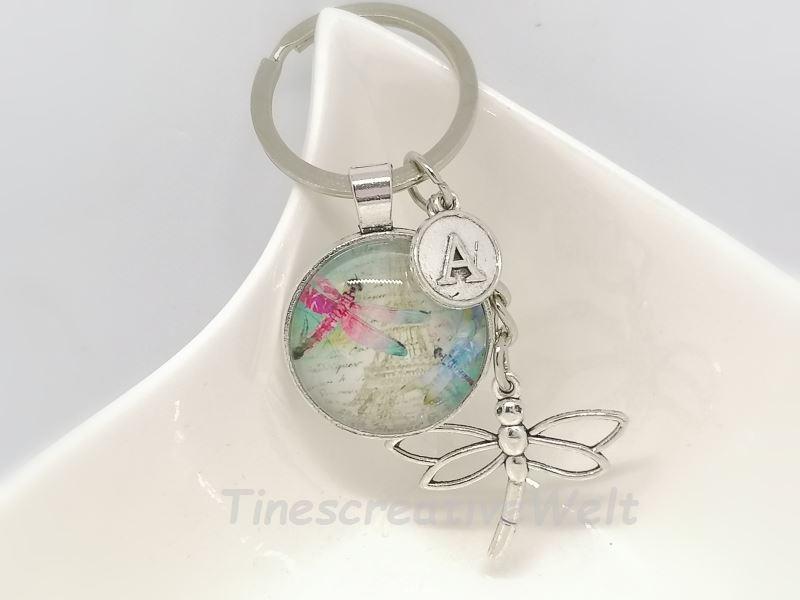 Kleinesbild - Personalisierbarer Schlüsselanhänger, Libelle, Glascabochon, Geschenk