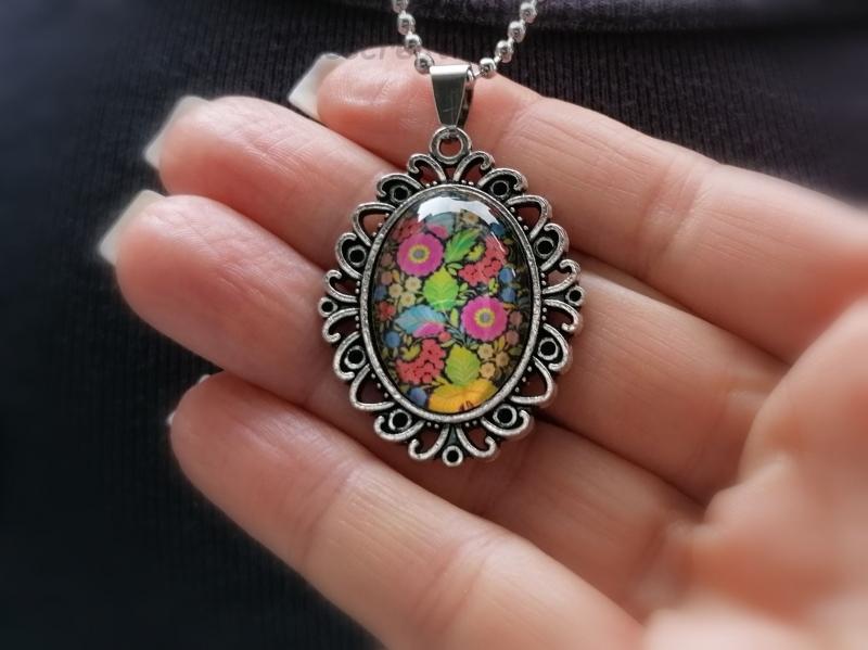 - Kugelkette, Edelstahl, Glascabochon, Blumenmuster, Geschenk für Frauen - Kugelkette, Edelstahl, Glascabochon, Blumenmuster, Geschenk für Frauen