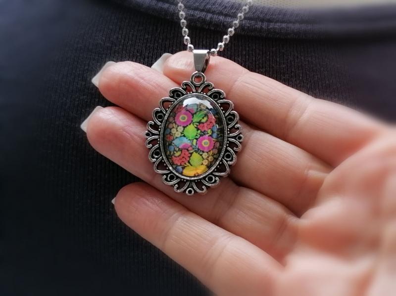 Kleinesbild - Kugelkette, Edelstahl, Glascabochon, Blumenmuster, Geschenk für Frauen