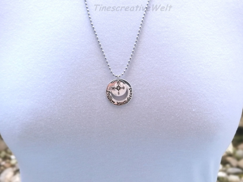 Kleinesbild - Kugelkette, Edelstahl,  Follow your Dream, Kompass, Glücksbringer, Geschenk für Männer, Geschenk für Frauen