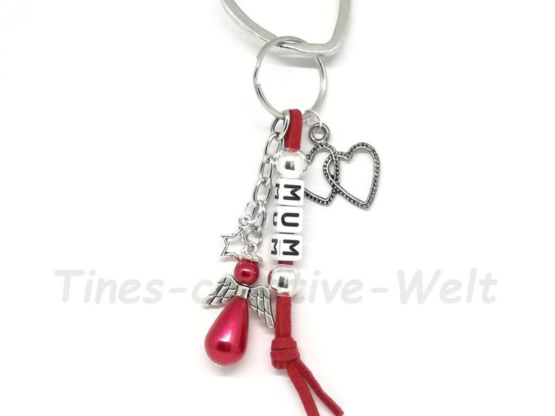 Kleinesbild - Schlüsselanhänger, Mama, Mum, Engel, Schutzengel, Velourband, Glücksbringer, Geburtstagsgeschenk, rot