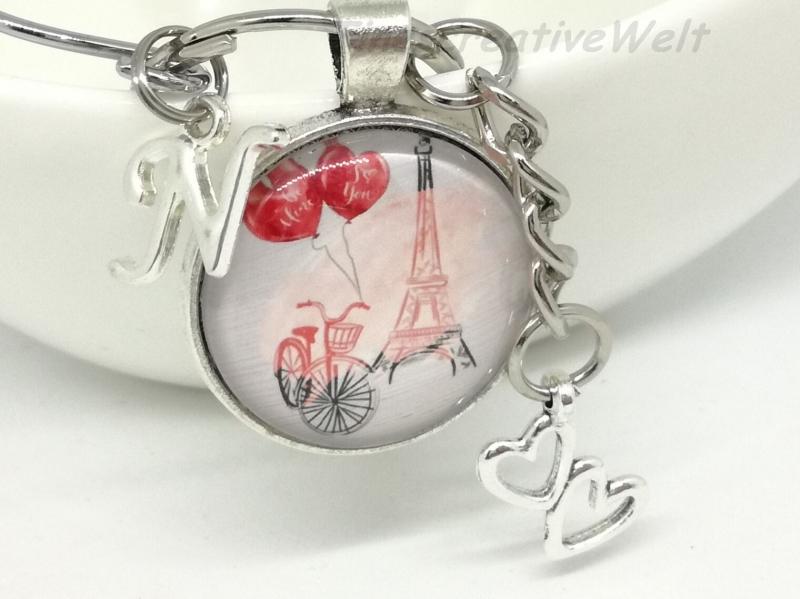 - Personalisierter Schlüsselanhänger, Eiffelturm, Fahrrad, Herz, Glascabochon, Liebe, Geschenk - Personalisierter Schlüsselanhänger, Eiffelturm, Fahrrad, Herz, Glascabochon, Liebe, Geschenk
