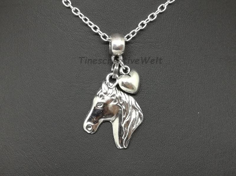 - Kette, Pferd, Pferdekopf, Pferdekette, Herz, Glücksbringer, Tierliebhaber, Geschenk - Kette, Pferd, Pferdekopf, Pferdekette, Herz, Glücksbringer, Tierliebhaber, Geschenk