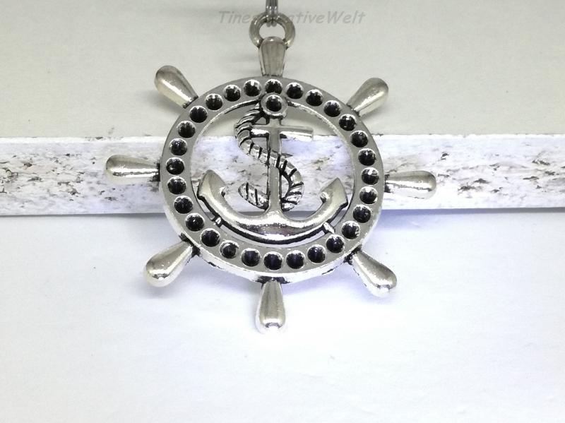 Kleinesbild - Schlüsselanhänger, Echtleder, Steuerrad, Anker, Schiff, Geschenk für Männer