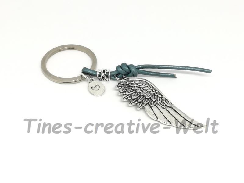 Kleinesbild - Schlüsselanhänger, Flügel, Engelsflügel, Lederband, Taschenanhänger, Geschenk für Männer und Frauen