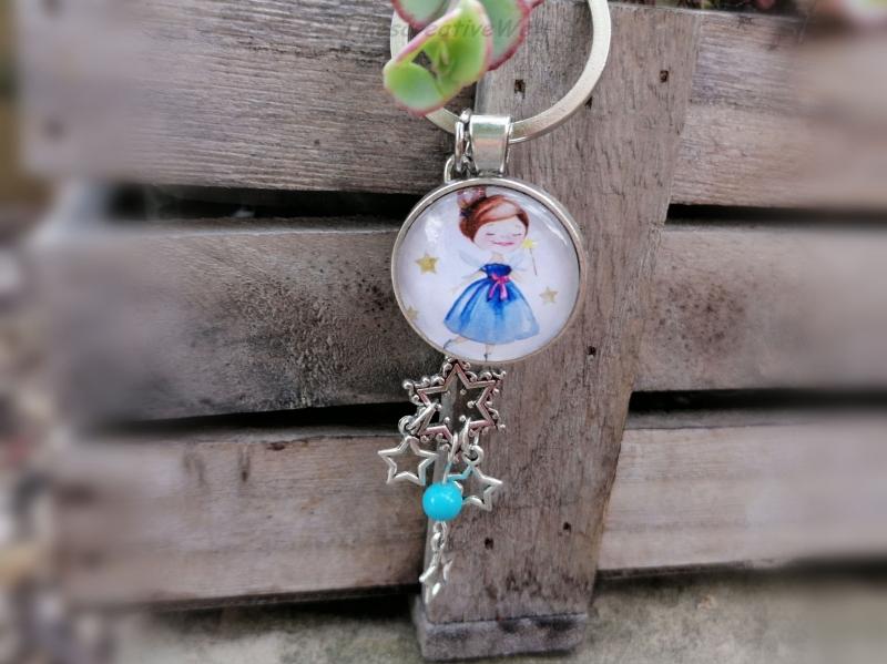 - Schlüsselanhänger, Glascabochon, Sternenkind, Sterne, Geschenk für Frauen - Schlüsselanhänger, Glascabochon, Sternenkind, Sterne, Geschenk für Frauen