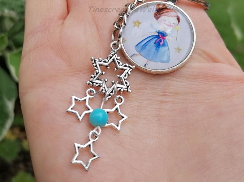 Kleinesbild - Schlüsselanhänger, Glascabochon, Sternenkind, Sterne, Geschenk für Frauen