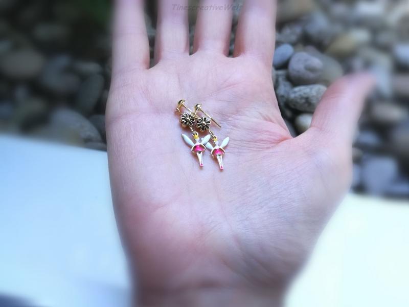 Kleinesbild - Ohrringe, Fee, Elfe, Engel, Blume, Emaille, Glücksbringer, Geschenk, Geschenkidee