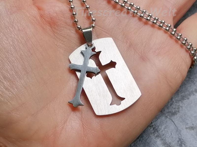 - Edelstahl, trennbares Kreuz, Kugelkette, Geschenk für Männer, Geschenk für Frauen - Edelstahl, trennbares Kreuz, Kugelkette, Geschenk für Männer, Geschenk für Frauen