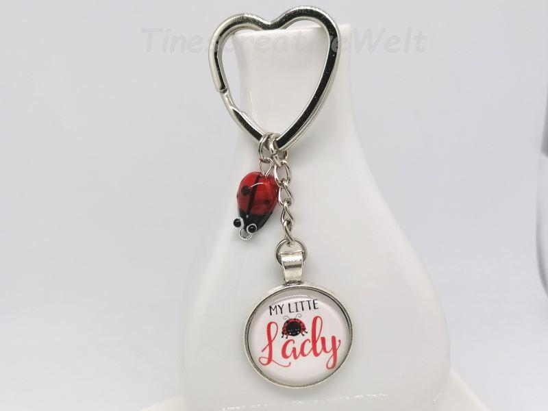 Kleinesbild - Schlüsselanhänger, Marienkäfer aus Glas, Glücksbringer, Herz, My little Lady, Initialen, Glascabochon, Geschenk