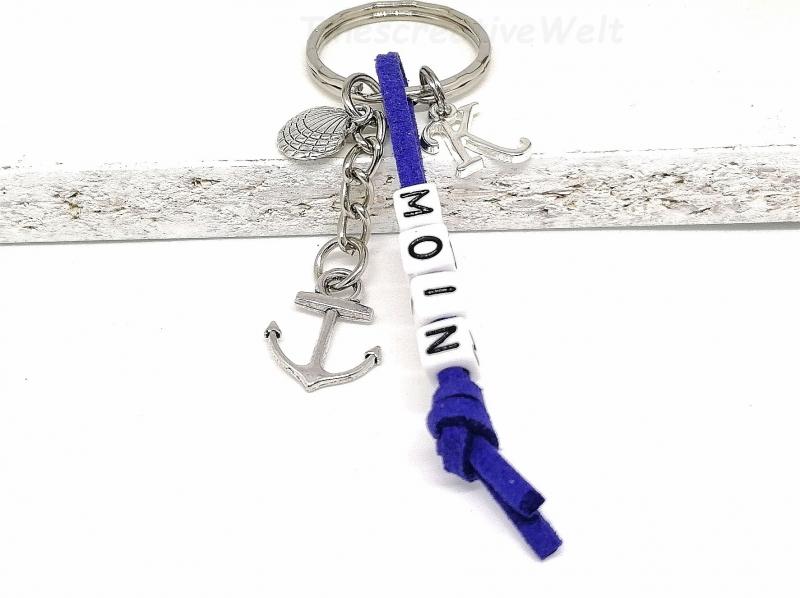 Kleinesbild - Personalisierbarer Schlüsselanhänger, Moin, Anker, Muschel, Ostsee, Nordsee, Geschenk