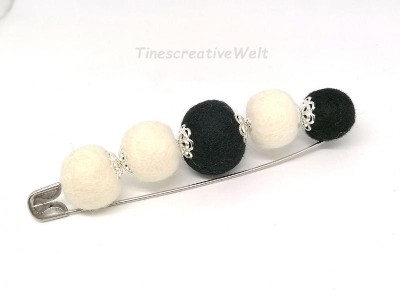 Kleinesbild - Anstecknadel mit Filzkugeln aus Schurwolle, Geschenk für Frauen