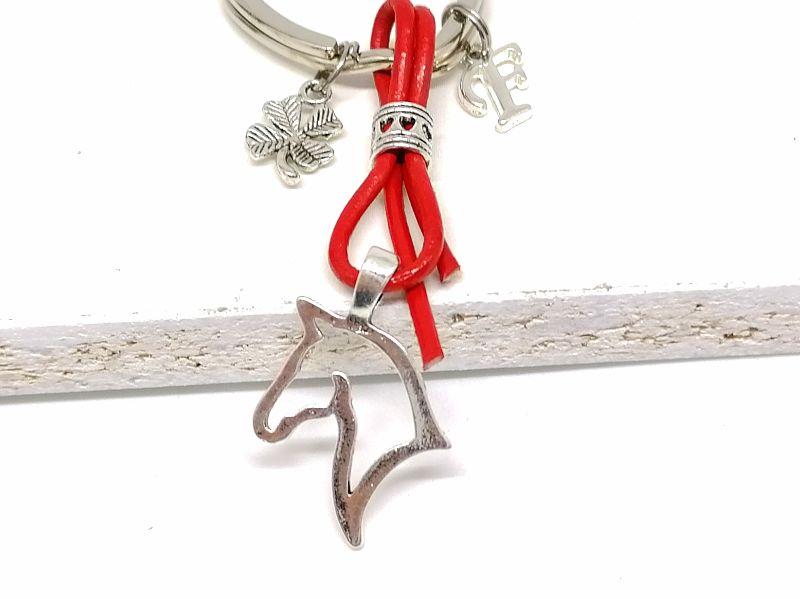 Kleinesbild - Personalisierbarer Schlüsselanhänger, Pferd, Leder, Glücksbringer, Kleeblatt, Geschenk, Rot, Türkis, Schwarz, Braun
