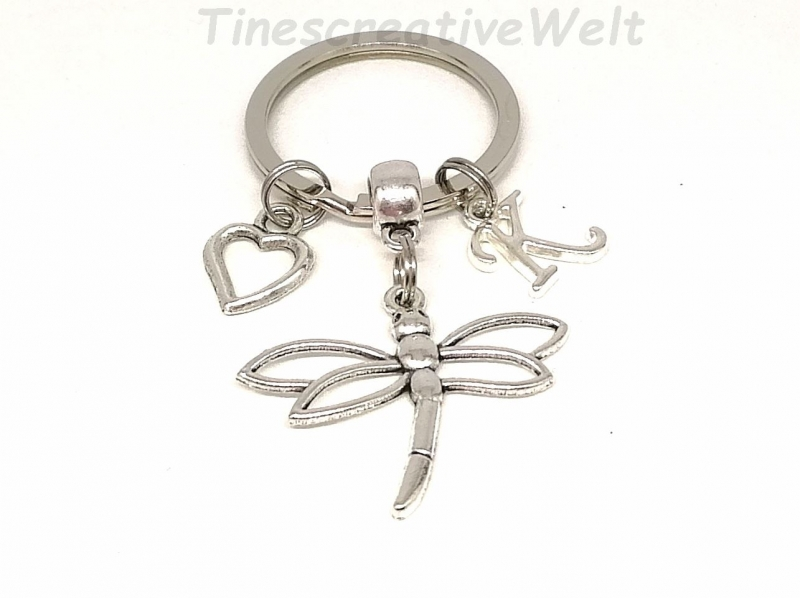 Kleinesbild - Personalisierter Schlüsselanhänger, Libelle, Herz, Geschenk