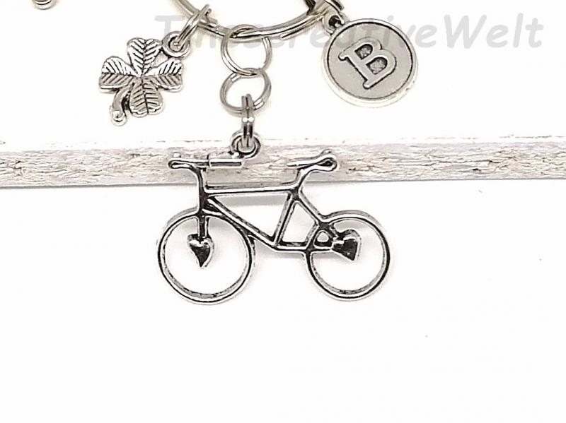 Kleinesbild - Schlüsselanhänger personalisiert, Fahrrad, Rad, Kleeblatt, Herz, Glücksbringer, Karabinerhaken mit Wirbel, Geschenk