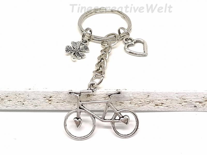 - Schlüsselanhänger, Fahrrad, Kleeblatt, Herz, Glücksbringer, Geschenk - Schlüsselanhänger, Fahrrad, Kleeblatt, Herz, Glücksbringer, Geschenk