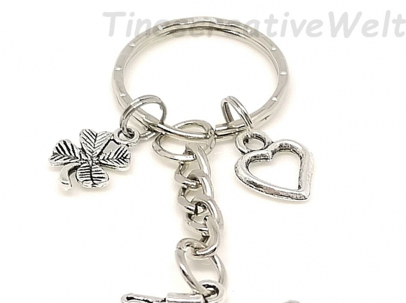 Kleinesbild - Schlüsselanhänger, Fahrrad, Kleeblatt, Herz, Glücksbringer, Geschenk